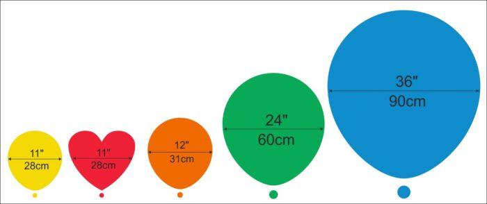 õhupalli suurused